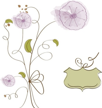 handpainted flowers background 02 vector