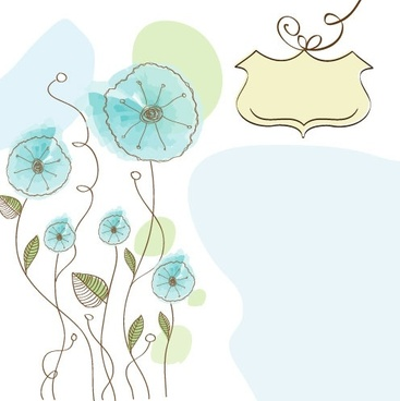 handpainted flowers background 03 vector
