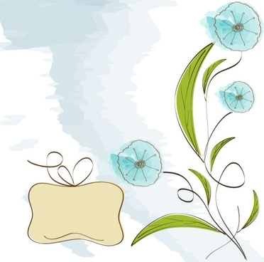 handpainted flowers background 04 vector