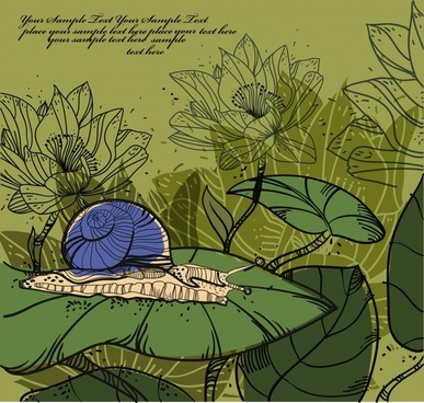 nature painting lotus snail sketch classic handdrawn design