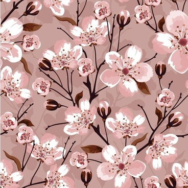 handpainted flowers vector background 2
