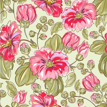 handpainted flowers vector background 5