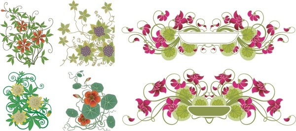 flowers decoration design elements colored classical symmetric ornament