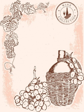 wine advertising background handdrawn vintage design
