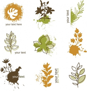 leaves icons classical grunge handdrawn sketch