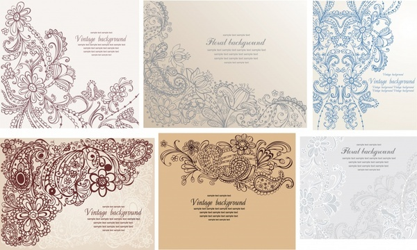 decorative background templates retro flowers doodles decor