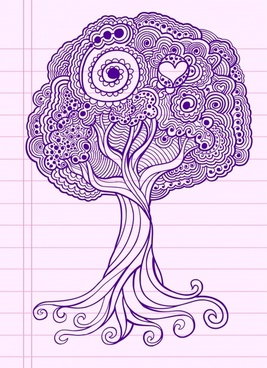 tree drawing classic handdrawn doodles sketch
