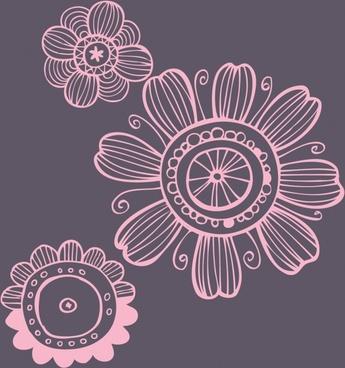 petals painting retro handdrawn flat sketch