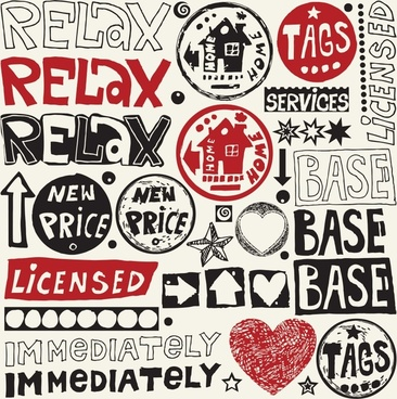 message templates collection retro handdrawn flat sketch