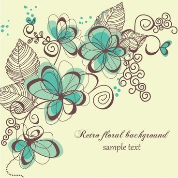 floral background retro flat sketch