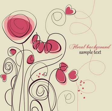 love background heart floras sketch flat handdrawn design