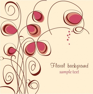 floral background flat handdrawn curves sketch