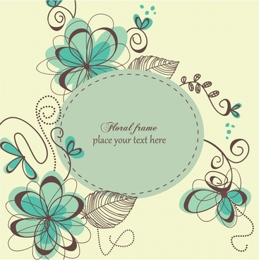floral background classic flat handdrawn sketch