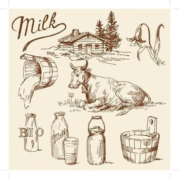 dairy banner retro handdrawn sketch