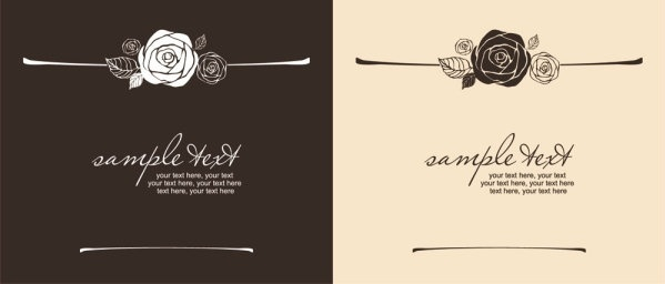 handpainted rose pattern line draft 02 vector