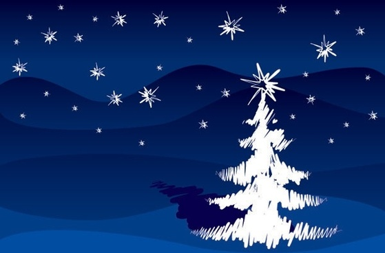 handpainted strokes christmas tree vector