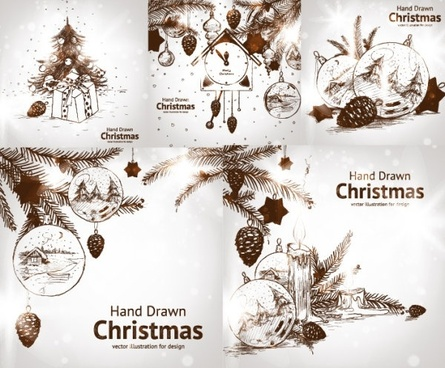 handpainted style christmas decorations vector
