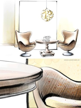 handpainted style interior decoration psd layered images 6