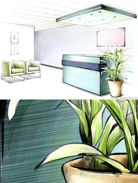 handpainted style interior decoration psd layered images 8