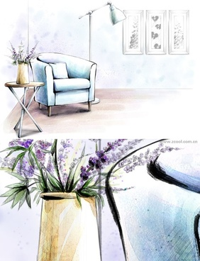 handpainted style interior decoration psd layered pictures 5