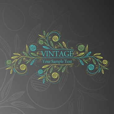 vintage background colored handdrawn sketch flowers icon