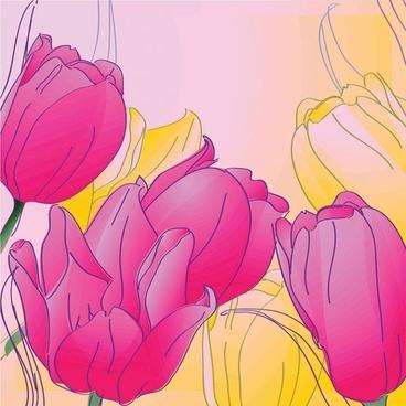 handpainted tulips vector 2