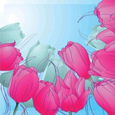handpainted tulips vector 3