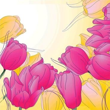 handpainted tulips vector 4