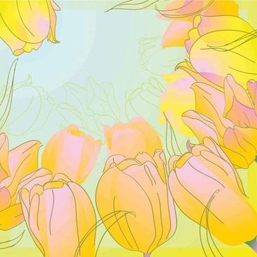 handpainted tulips vector 5
