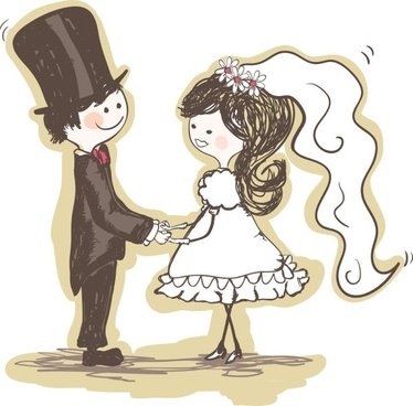 handpainted version of the bride and groom 02 vector