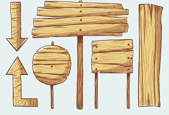 handpainted wooden style vector