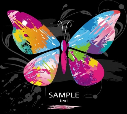 butterfly background colorful grunge design watercolor decor