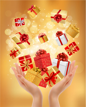 hands and gift boxes background vector