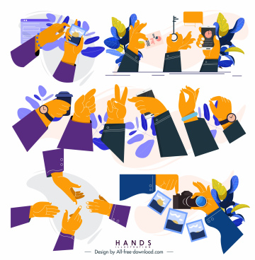 hands gestures icons colored classic design