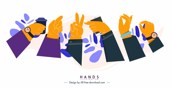 hands gestures icons entertainment sketch colored classical design