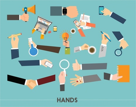 hands vector illustration with ordinary work activities