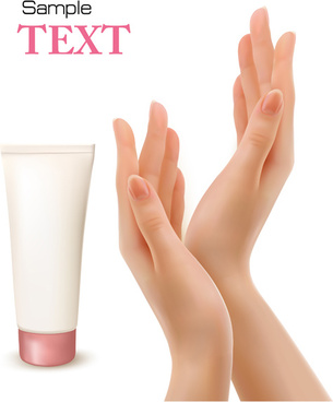 hands with cosmetic creative vector background