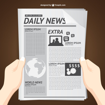 hands with newspaper vector