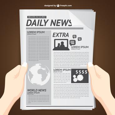 hands with newspaper vector