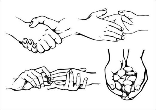 handshake sign icons black white 3d sketch
