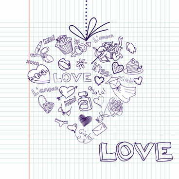 handwriting love with paris elements vector