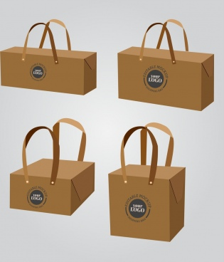 handy bags templates brown 3d design