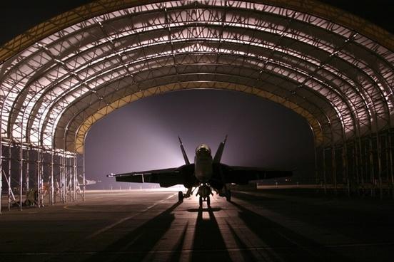 hangar jet aircraft