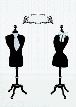 fashion advertising elements black white silhouette hanger 3d