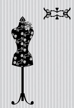 hanger model black and white silhouette vector