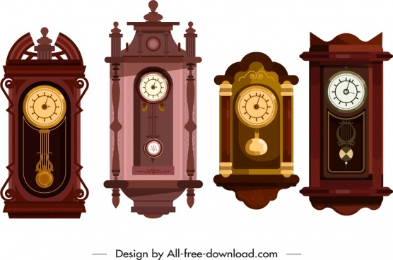 hanging clock icons colored elegant classical decor