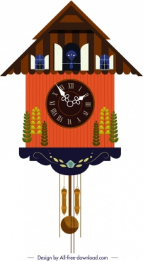 hanging clock template classical cottage shape trees decor