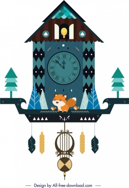 hanging clock template nature theme decor retro cottage