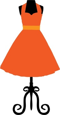 hanging orange vintage dress realistic vector illustration
