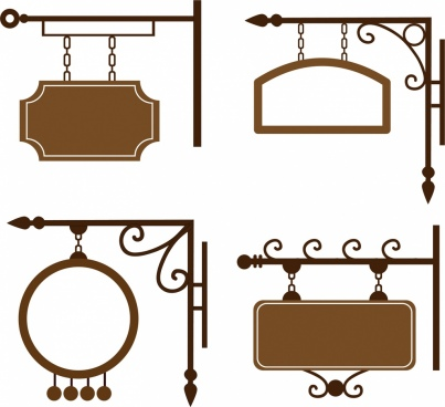 hanging sigboard collection classical brown design